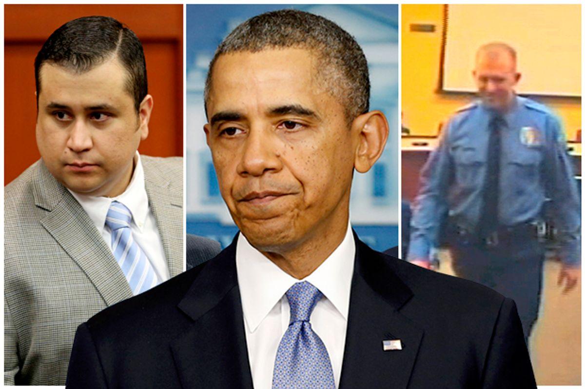 George Zimmerman, Barack Obama, Darren Wilson        (AP/Gary W. Green/Reuters/Kevin Lamarque)