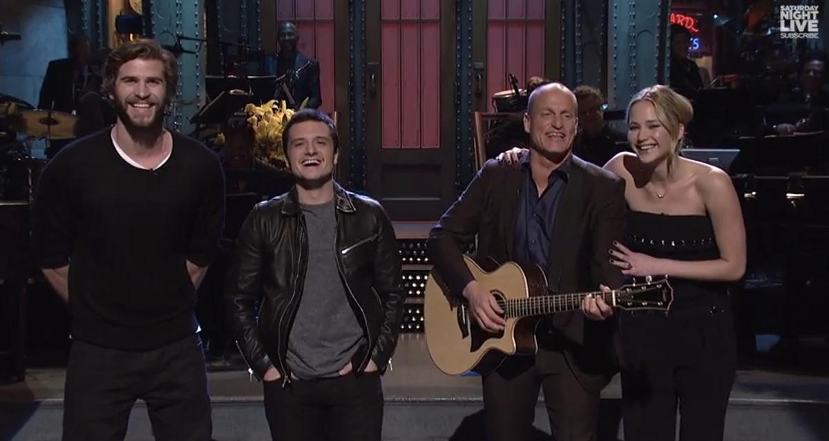 "Liam Hemsworth, Josh Hutcherson, Woody Harrelson and Jennifer Lawrence on ""Saturday Night Live""    (NBC/""Saturday Night Live"")"