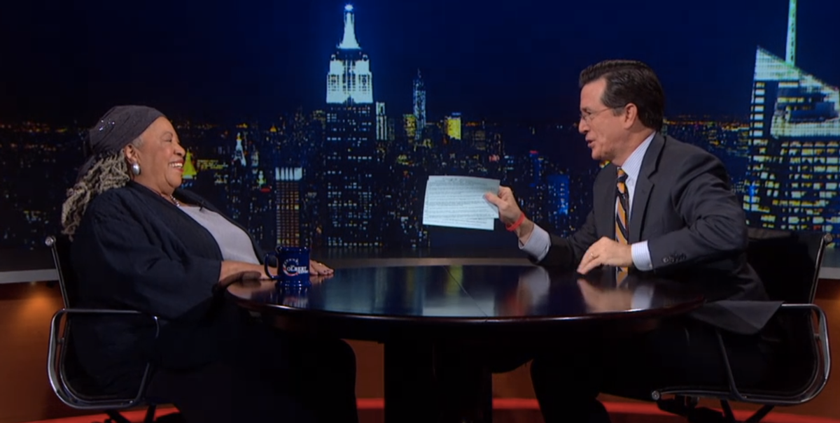 Toni Morrison and Stephen Colbert        (Comedy Central)