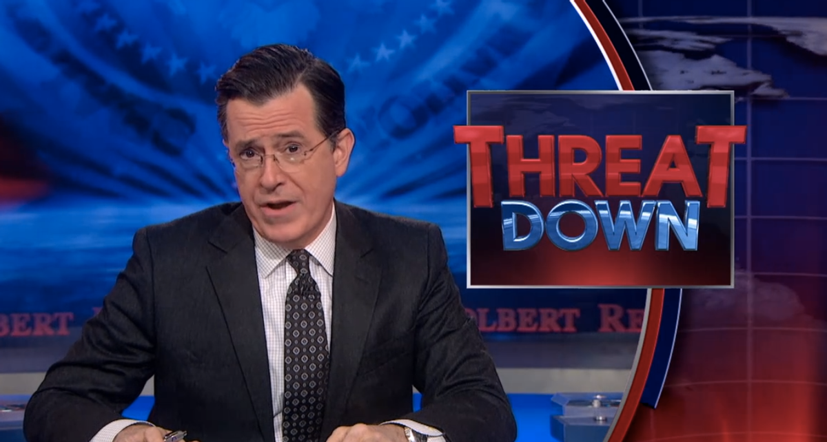 """""""Threat Down"""" with Stephen Colbert      (Comedy Central)"""