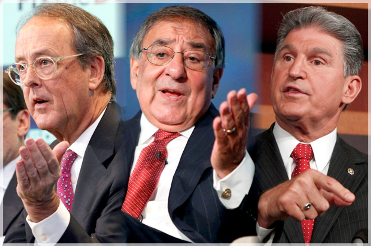Erskine Bowles, Leon Panetta, Joe Manchin    (Reuters/Brendan McDermid/Jonathan Ernst/Gary Cameron)