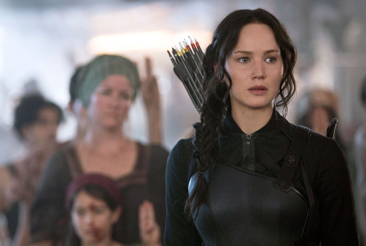 """In this image released by Lionsgate, Jennifer Lawrence portrays Katniss Everdeen in a scene from """"The Hunger Games: Mockingjay Part 1."""" (AP Photo/Lionsgate, Murray Close) (AP)"""
