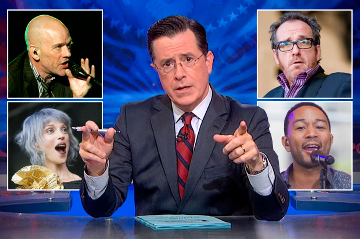 Stephen Colbert surrounded by (clockwise from top left): Michael Stipe, Elvis Costello, John Legend, St. Vincent    (Comedy Central/AP/Shutterstock/Salon)