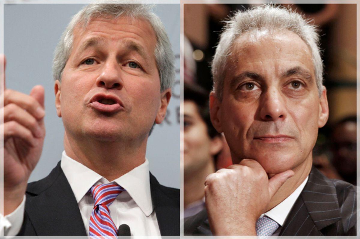 Jamie Dimon, Rahm Emanuel           (Reuters/Yuri Gripas/Larry Downing)