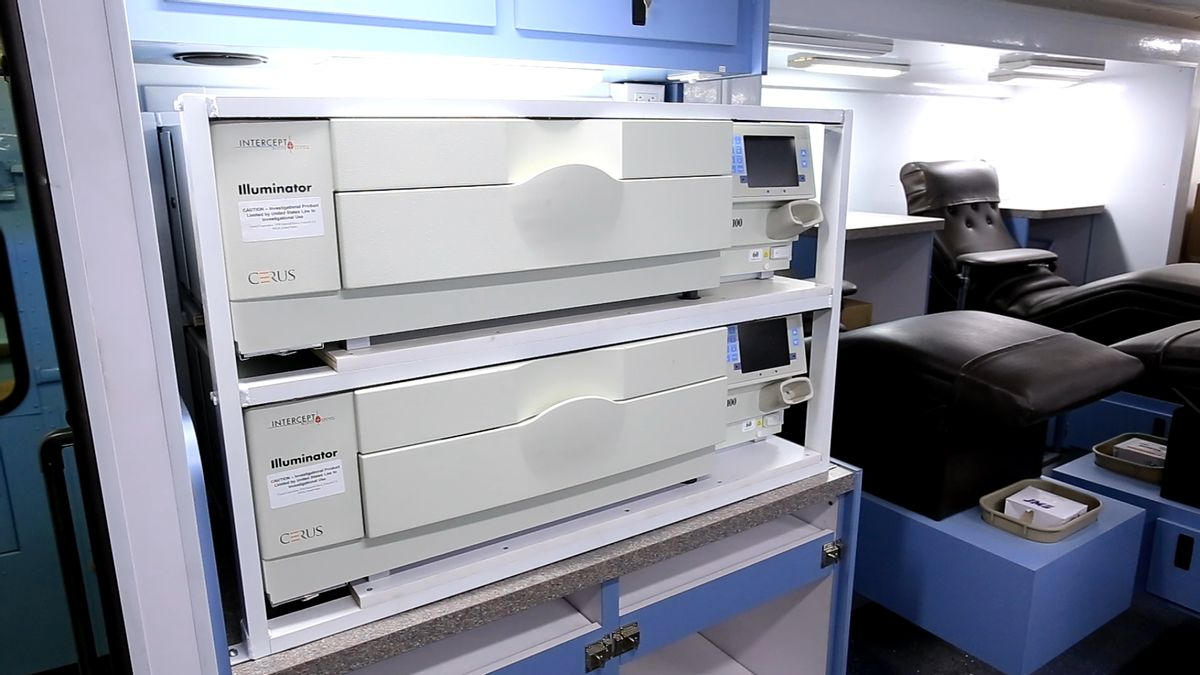 This Nov. 7, 2014, photo shows the inside a mobile donation unit at the Raleigh-Durham International Airport in Raleigh, N.C. The unit was headed to Liberia for use in a study of blood plasma treatment for Ebola patients. (AP Photo/Trevor Jenkins) (AP)