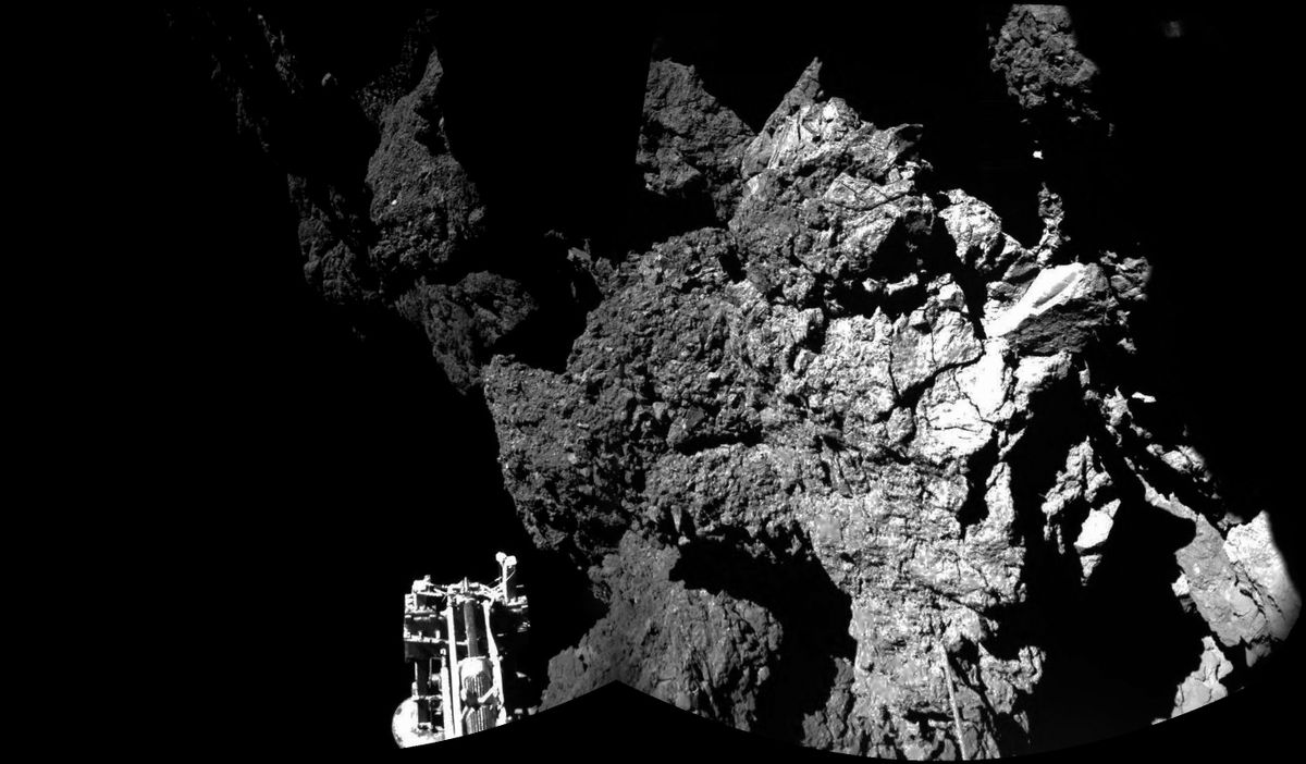 FILE- In this file photo dated Thursday Nov. 13, 2014, a combination photo produced with different images taken with the CIVA camera system released by the European Space Agency ESA, shows Rosetta's lander Philae after landing safely on the surface of Comet 67P/Churyumov-Gerasimenko,  as these first  CIVA images confirm. One of the lander's three feet can be seen in the foreground. Philae became the first spacecraft to land on a comet when it touched down Wednesday on the comet, 67P/Churyumov-Gerasimenko. (AP Photo/Esa/Rosetta/Philae, FILE) (AP)