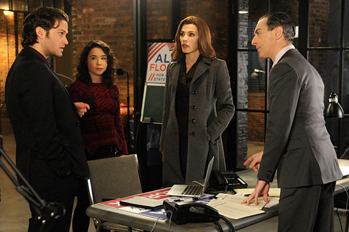 "Steven Pasquale, Sarah Steele, Julianna Margulies and Alan Cumming in ""The Good Wife""      (CBS/Jeffery Neira)"