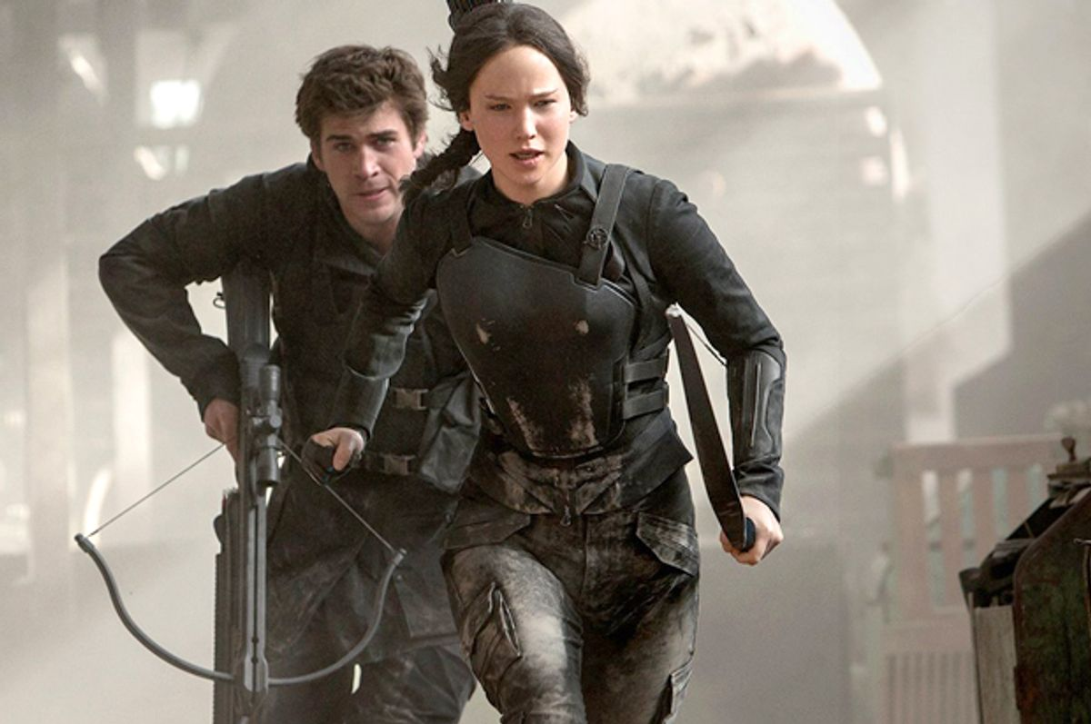 """Liam Hemsworth and Jennifer Lawrence in """"The Hunger Games: Mockingjay - Part 1""""      (Lionsgate)"""