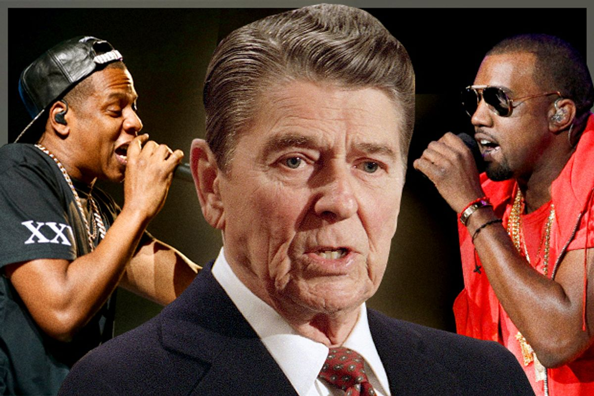 Jay-Z, Ronald Reagan, Kanye West                 (AP/Reuters/Benoit Tessier/Danny Moloshok/Photo montage by Salon)