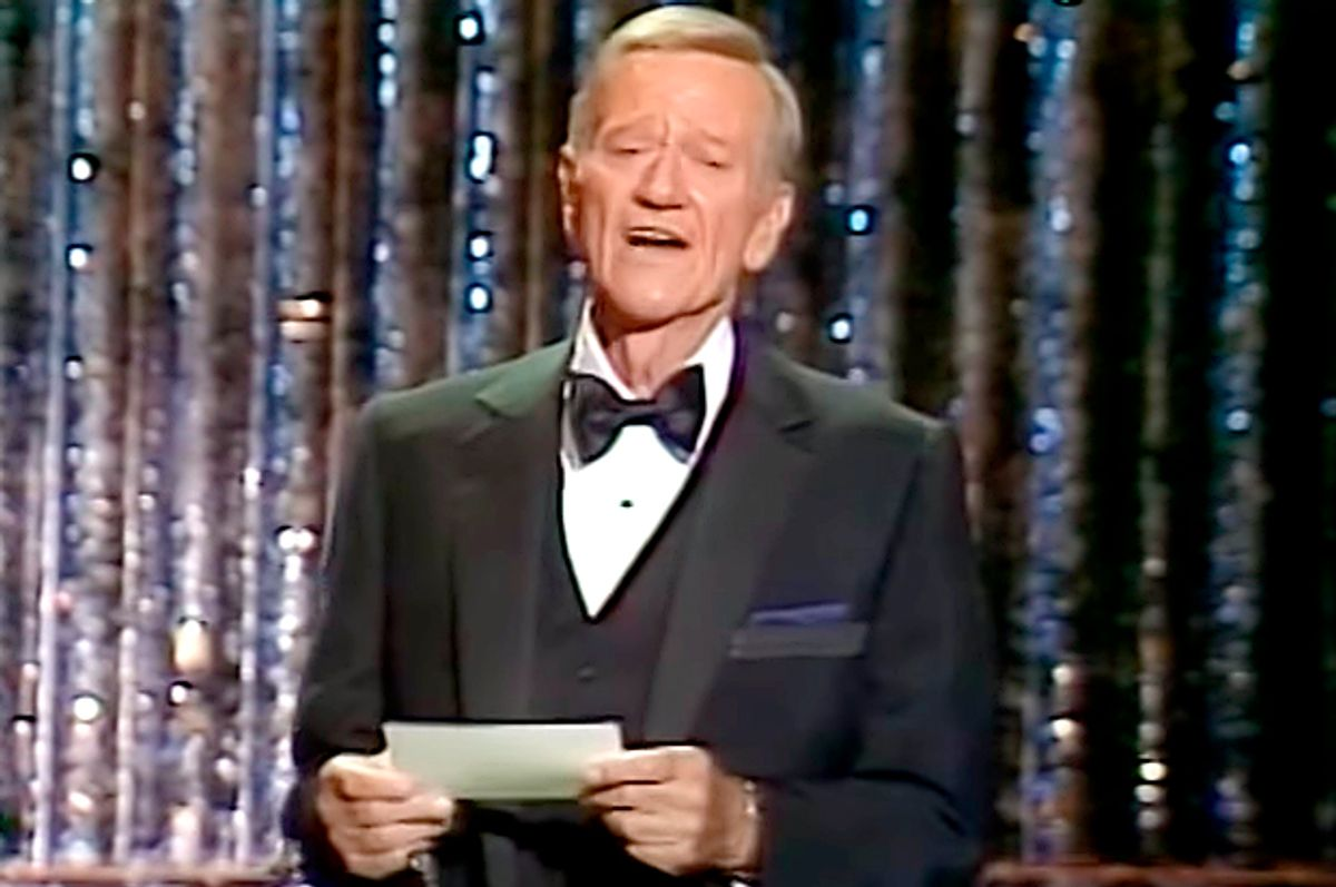 John Wayne presenting the Best Picture award at the 1979 Oscars