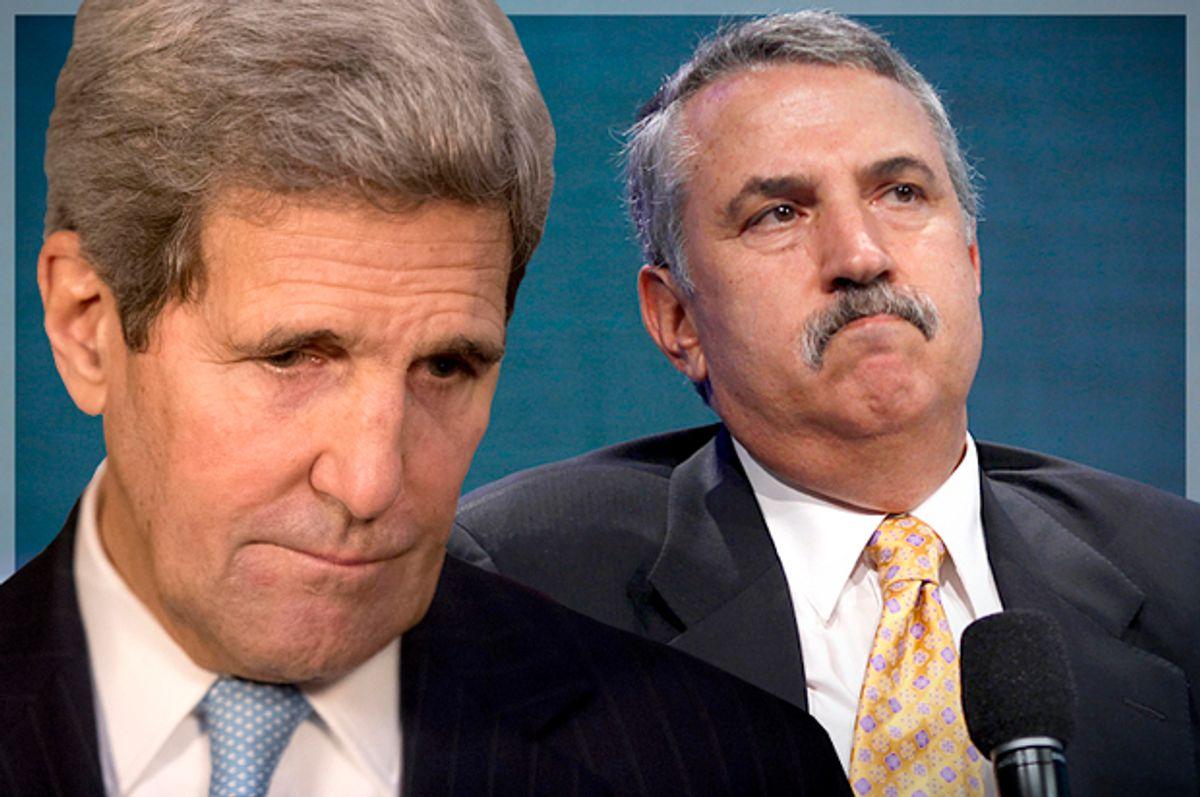John Kerry, Thomas Friedman            (Reuters/Lucas Jackson/AP/Matt Dunham/Photo montage by Salon)