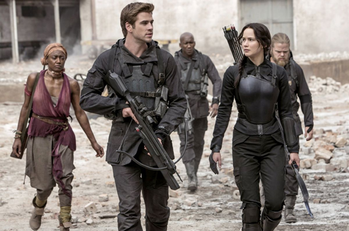 """Liam Hemsworth and Jennifer Lawrence in """"The Hunger Games: Mockingjay, Part 1""""     (Lionsgate)"""