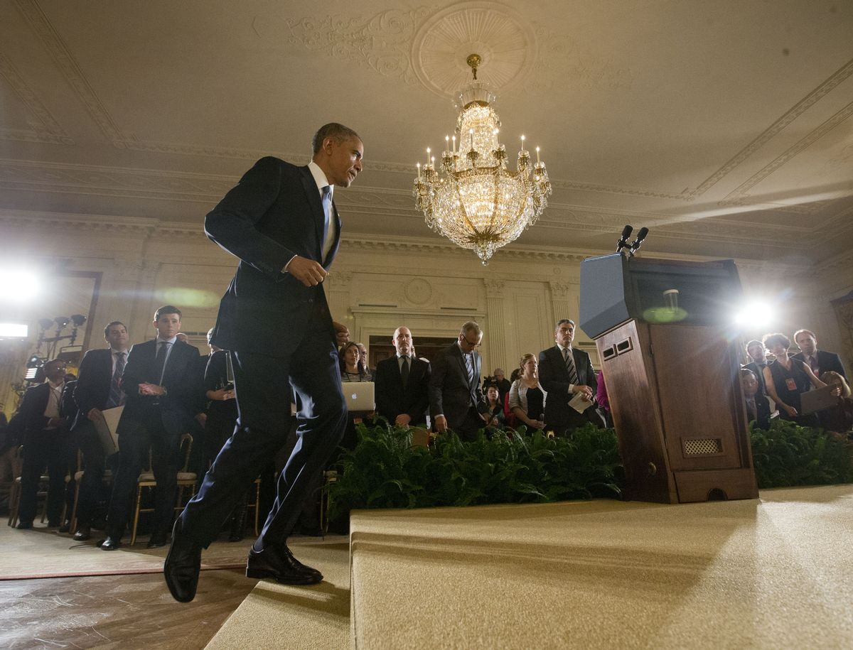 President Barack Obama walks in for the start of his news conference in the East Room of the White House, on Wednesday, Nov. 5, 2014, in Washington.  (AP Photo/Pablo Martinez Monsivais) (AP)