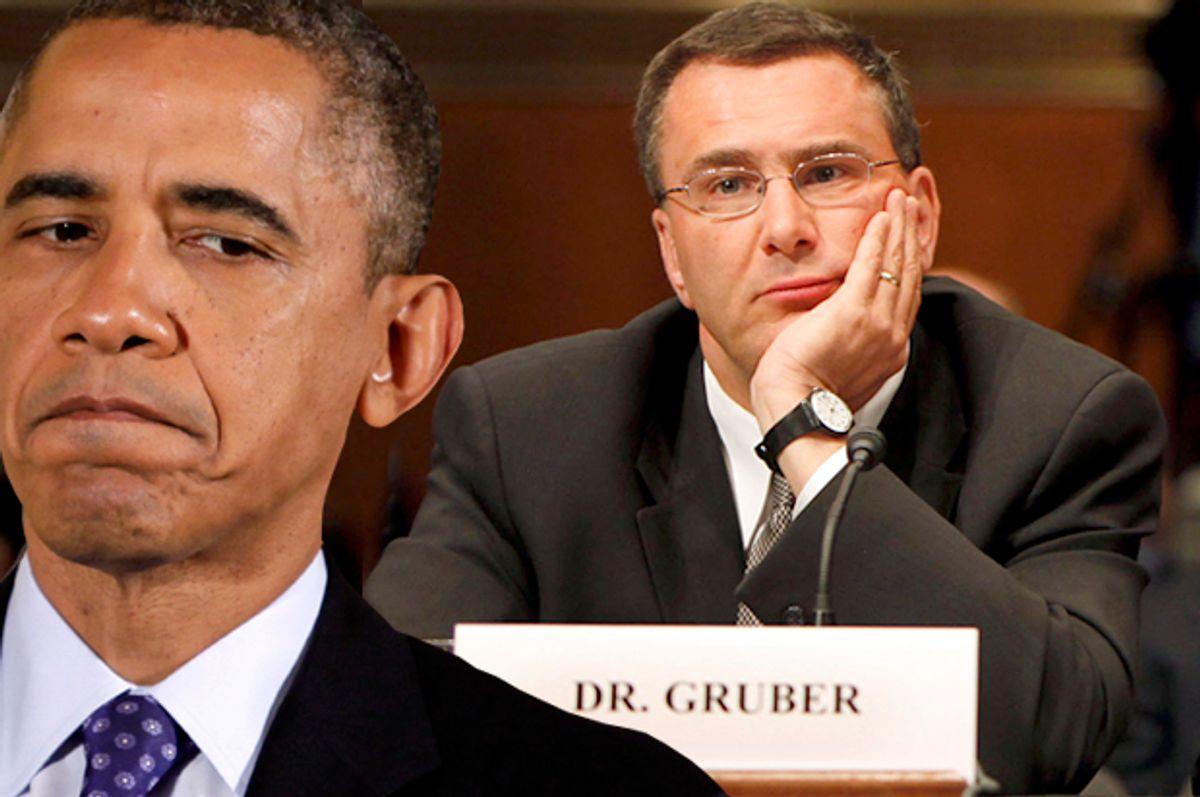 Barack Obama, Jonathan Gruber                  (Reuters/Yuri Gripas/AP/Pablo Martinez Monsivais/Photo montage by Salon)