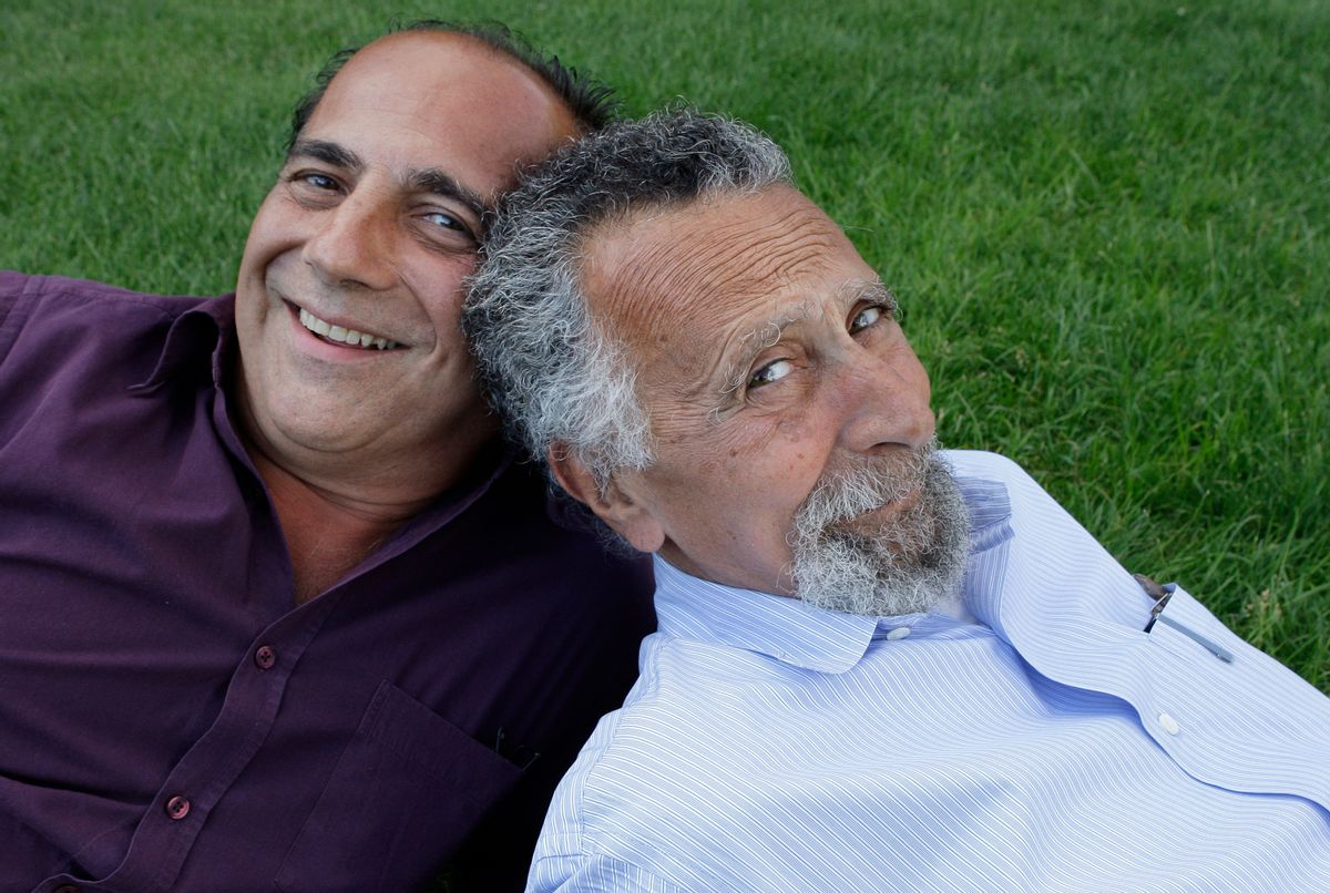 """In this June 19, 2008 photo, brothers Ray, left, and Tom Magliozzi, co-hosts of National Public Radio's """"Car Talk"""" show, pose for a photo in Cambridge, Mass. NPR says Tom Magliozzi died Monday, Nov. 3, 2014 of complications from Alzheimer's disease. He was 77. (AP Photo/Charles Krupa) (AP)"""