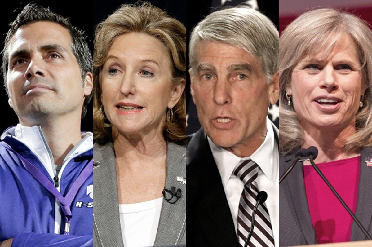 Greg Orman, Kay Hagan, Mark Udall, Mary Burke       (AP/Charlie Riedel/Gerry Broome/Jack Dempsey/Andy Manis)