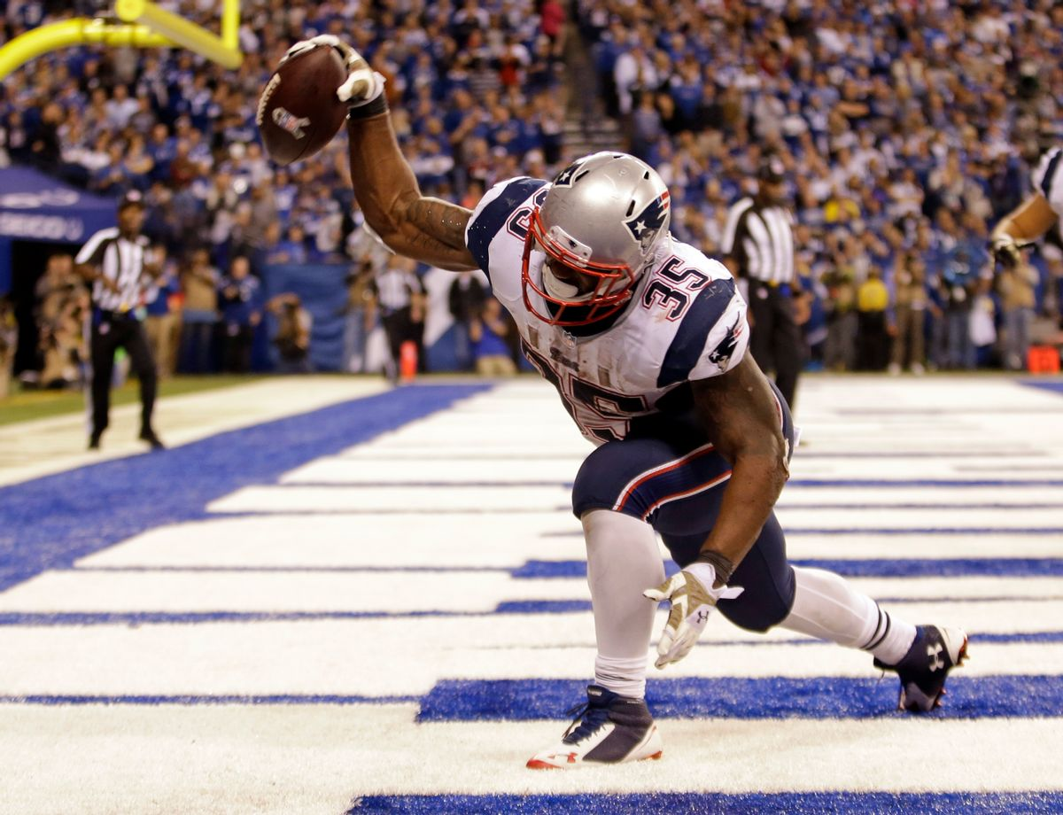 New England Patriots running back Jonas Gray celebrates a touchdown against the Indianapolis Colts during the second half of an NFL football game in Indianapolis, Sunday, Nov. 16, 2014. (AP Photo/AJ Mast) (AP)