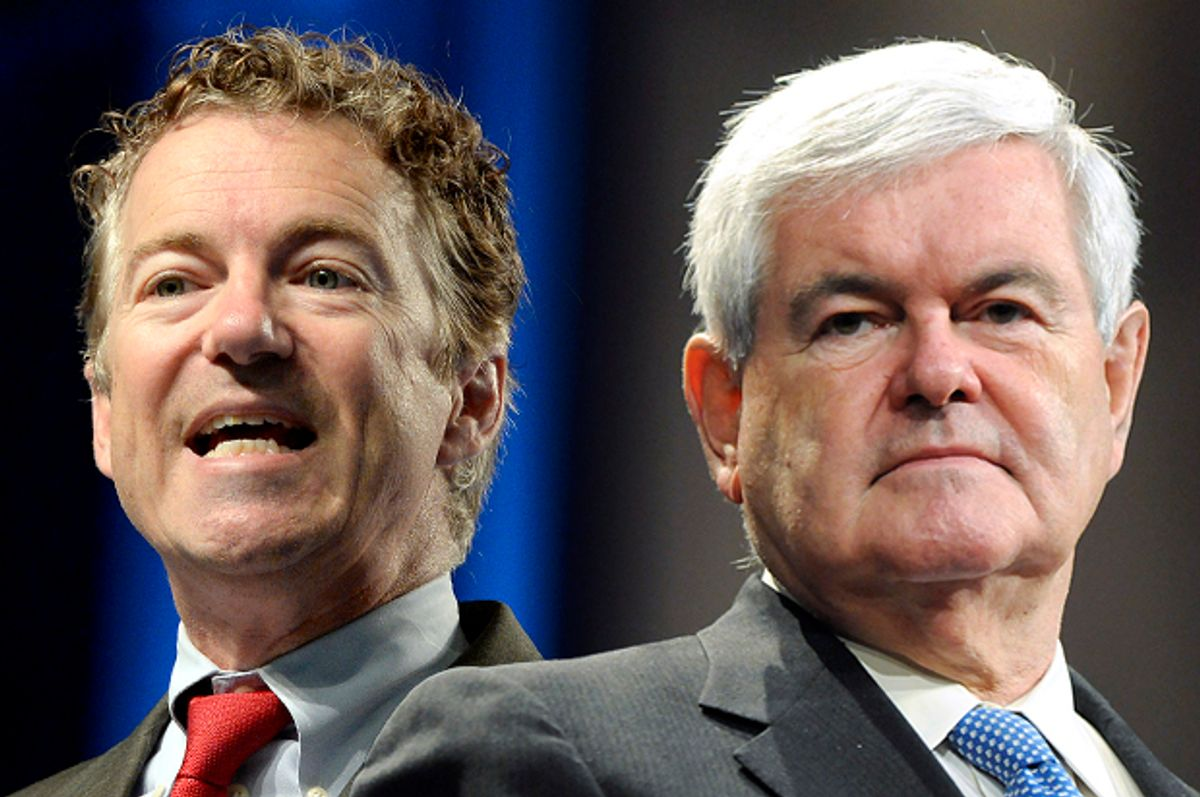 Rand Paul, Newt Gingrich      (Reuters/Tami Chappell/AP/Timothy D. Easley/Photo montage by Salon)