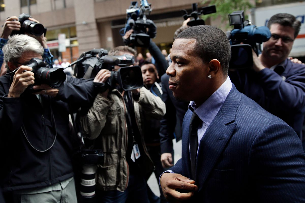 Ray Rice arrives for an appeal hearing of his indefinite suspension from the NFL, Wednesday, Nov. 5, 2014, in New York. (AP Photo/Seth Wenig)  (AP)