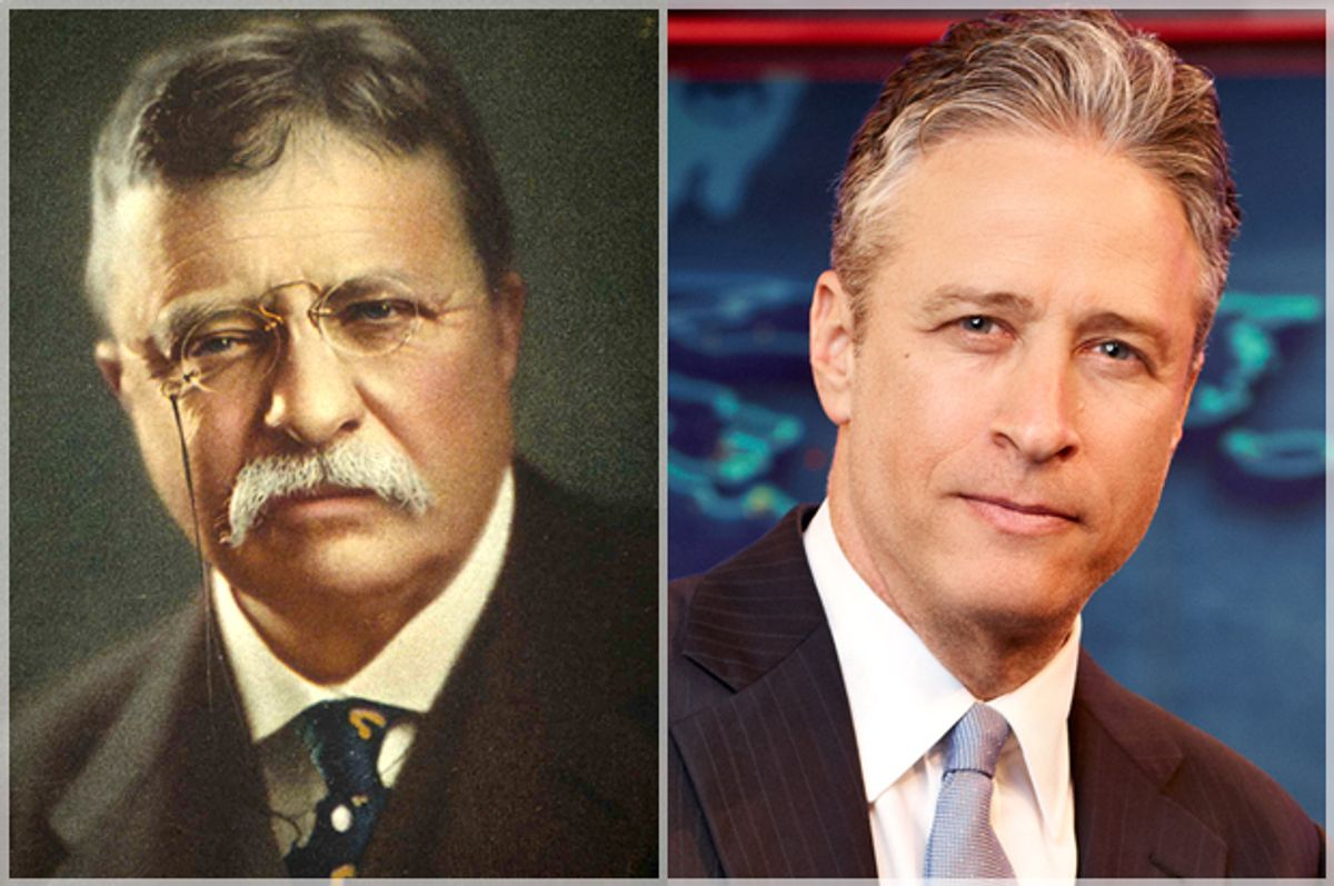 Theodore Roosevelt, Jon Stewart      (Wikicommons/AP/Comedy Central/Martin Crook)