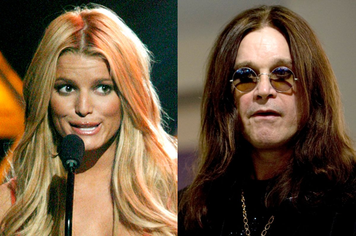 Jessica Simpson, Ozzy Osbourne        (Reuters/Fred Prouser/Andrew Winning)