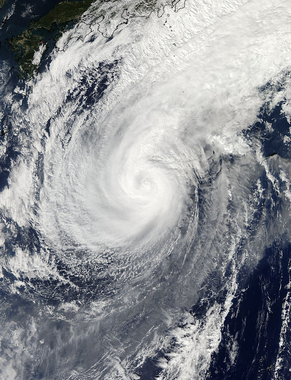 This Nov. 5, 2014 photo provided by NASA shows a picture captured by NASA's Aqua satellite of Typhoon Nuri. Weather forecasters say an explosive storm, a remnant of Typhoon Nuri, surpassing the intensity of 2012's Superstorm Sandy is heading toward the northern Pacific Ocean and expected to pass Alaska's Aleutian Islands over the weekend.   (AP/NASA)