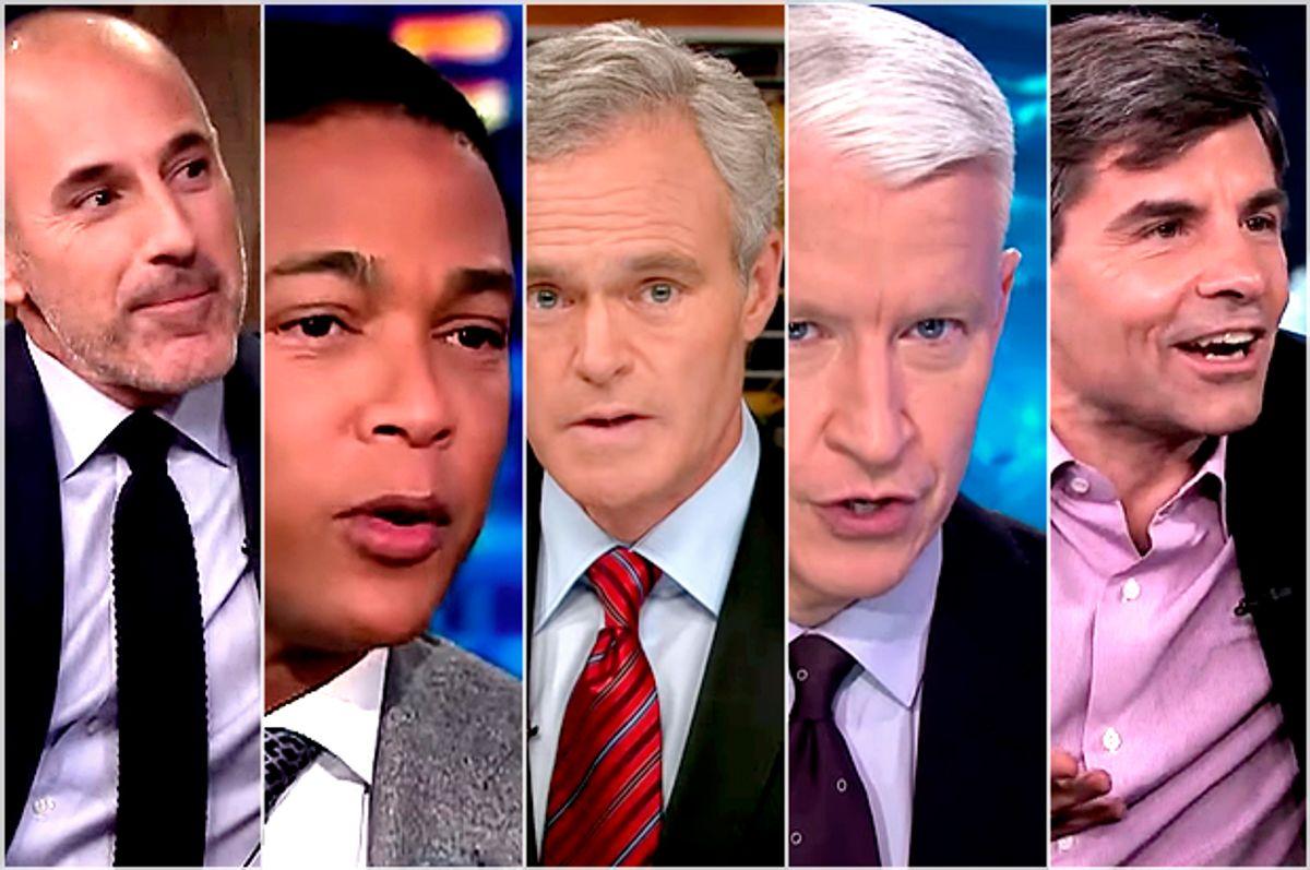 Matt Lauer, Don Lemon, Scott Pelley, Anderson Cooper, George George Stephanopoulos