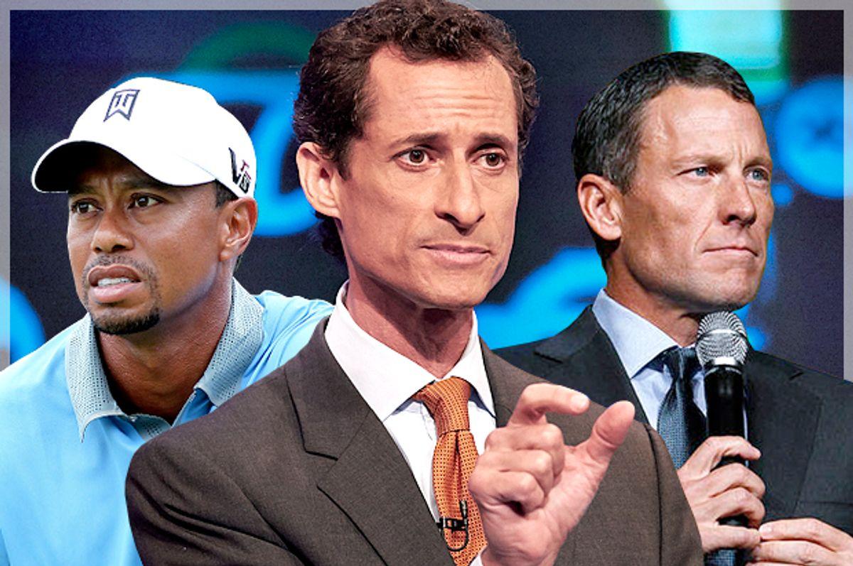 Tiger Woods, Anthony Weiner, Lance Armstrong     (Reuters/Aaron Josefczyk/AP/James Keivom/Elizabeth Kreutz/Photo montage by Salon)