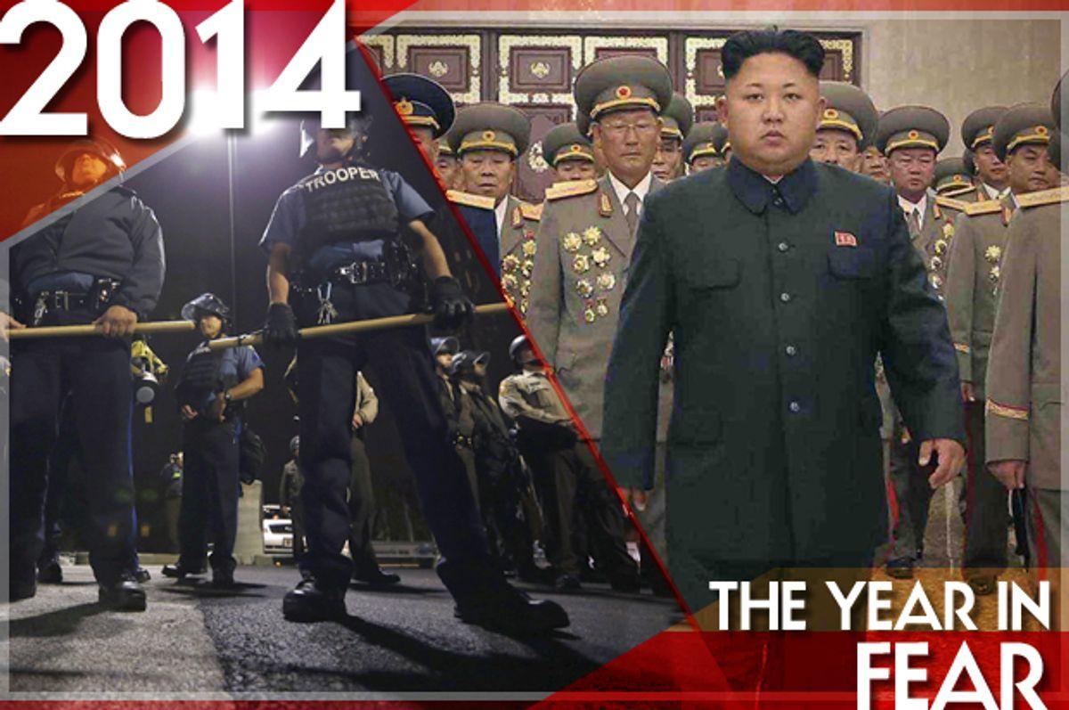 Police in Ferguson, Missouri, October 10, 2014; Kim Jong Un     (Reuters/Jim Young/KCNA/Salon)