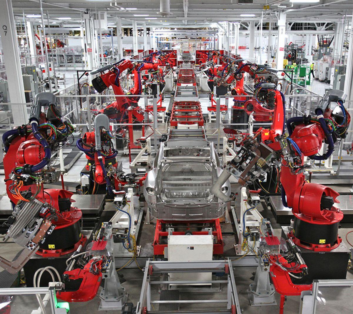 Tesla Motors Model S assembly line.     (Steve Jurvetson via Flickr)