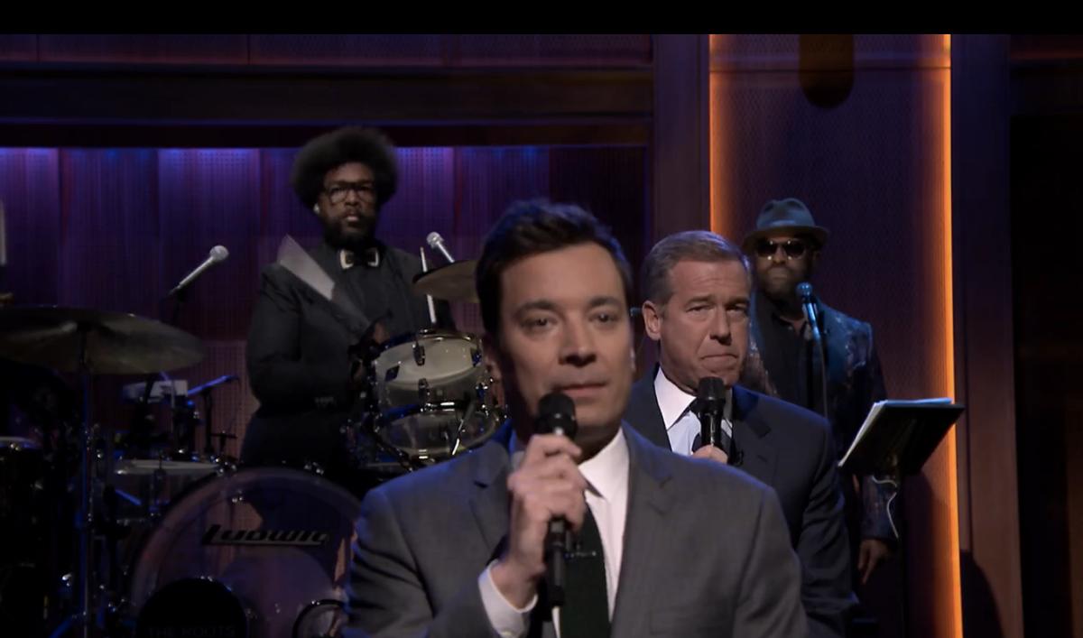 Jimmy Fallon, Brian Williams and Tariq     (NBC)