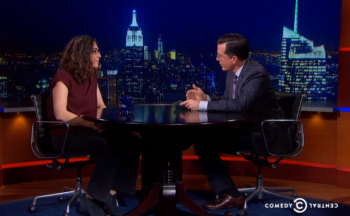 Sarah Koenig and Stephen Colbert    (Comedy Central)