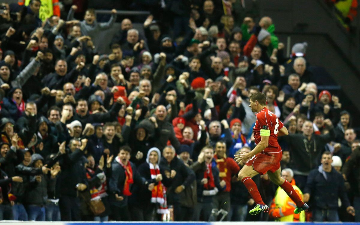 Liverpool's Steven Gerrard celebrates after scoring his side's first goal during the Champions League Group B soccer match between Liverpool and FC Basel at Anfield Stadium in Liverpool, England, Tuesday, Dec. 9, 2014. (AP Photo/Jon Super) (Jon Super)