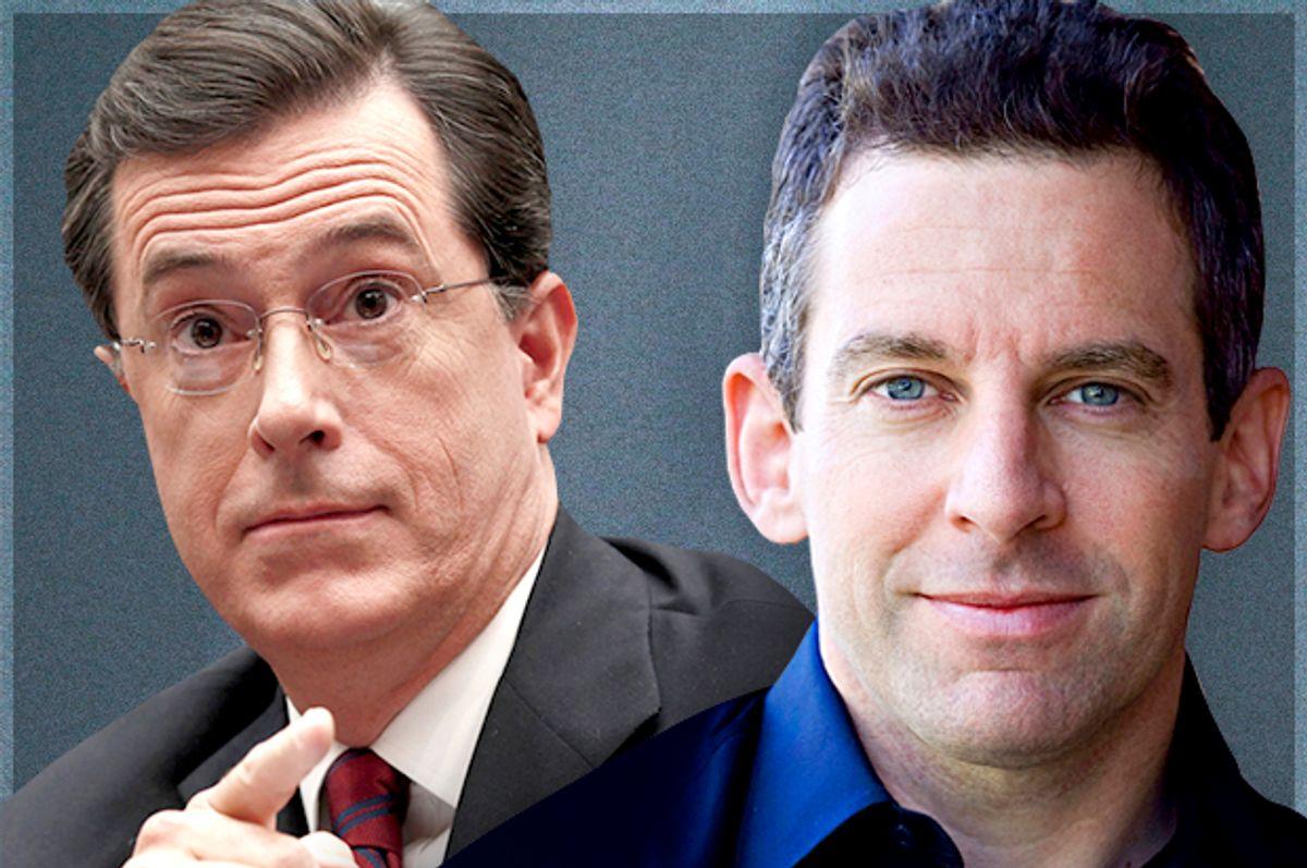 Stephen Colbert, Sam Harris        (Reuters/Kevin Lamarque/Simon & Schuster/Ray Garcia/Photo montage by Salon)