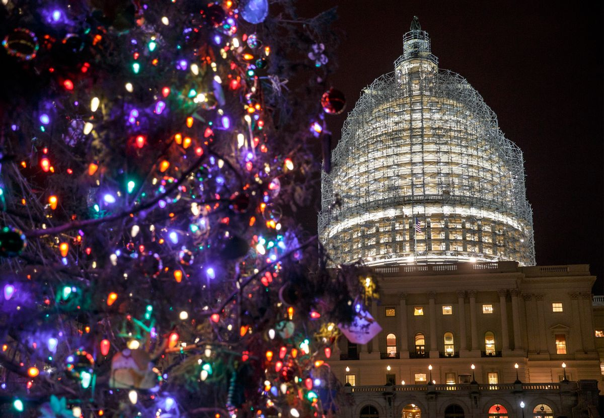 The Capitol Dome and the Capitol Christmas Tree are illuminated late Thursday evening as Congress works to pass a $1.1 trillion U.S. government-wide spending bill and avoid a government shutdown, in Washington, Thursday, Dec. 11, 2014. The Obama White House and House Republicans joined forces Thursday to pass the funding bill over clamorous protests from Democrats objecting that it would roll back bank regulations imposed in the wake of the economic near-meltdown of 2008. (AP Photo/J. Scott Applewhite) (AP)