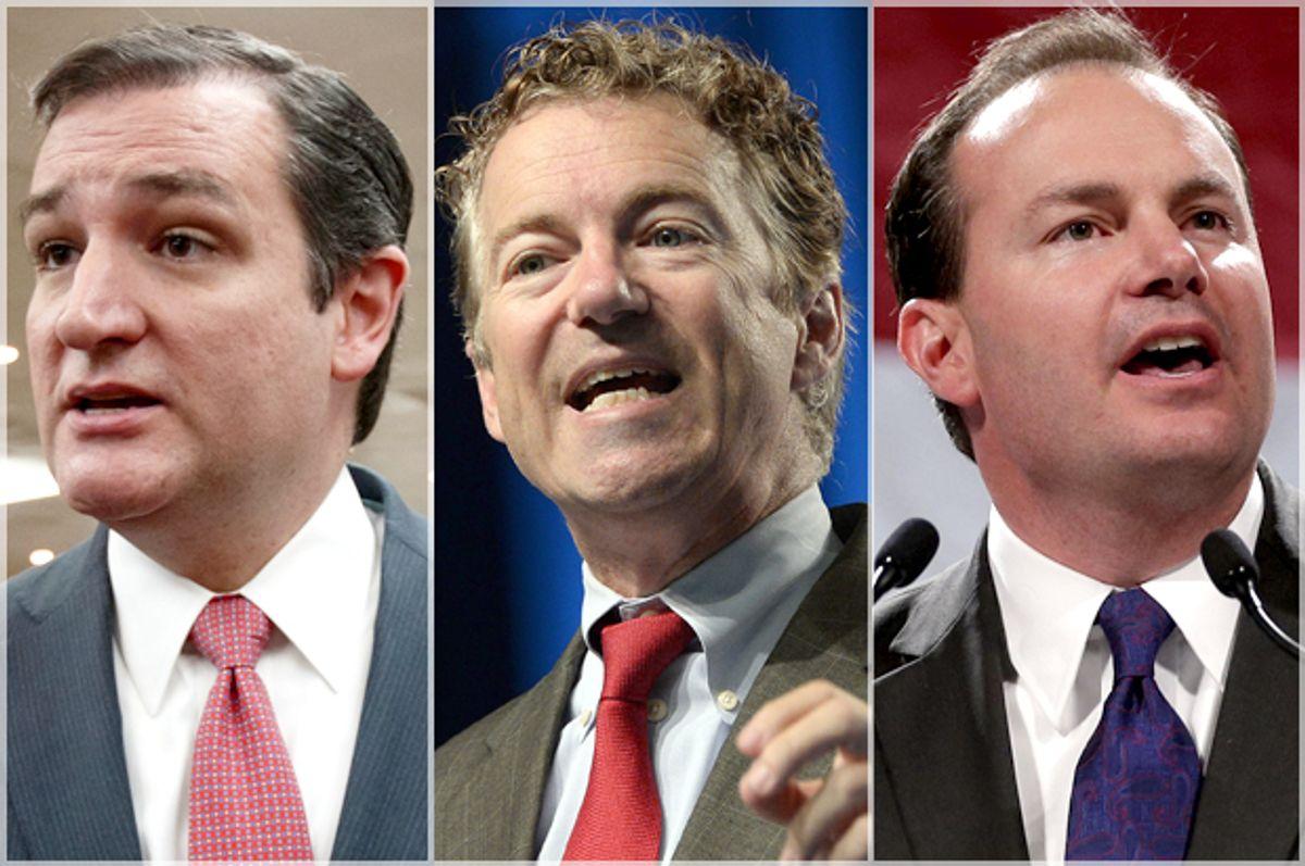 Ted Cruz, Rand Paul, Mike Lee             (AP/Reuters/J. Scott Applewhite/Yuri Gripas/Rick Bowmer)