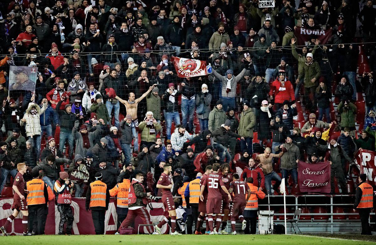 Torino FC's players celebrates after Amauro from Brazil, second right, scored their second goal during the Europa League, Group B, soccer match against FC Copenhagen at Parken Stadium in Copenhagen, Denmark, Thursday, Dec. 11, 2014. (AP Photo/POLFOTO,Tariq Mikkel Khan) DENMARK OUT (AP)