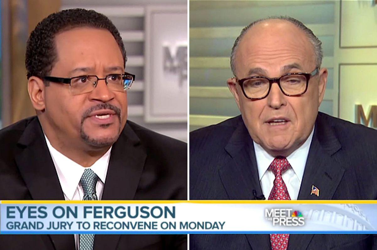 Michael Eric Dyson, Rudy Giuliani           (NBC/Meet The Press/Screen montage by Salon)