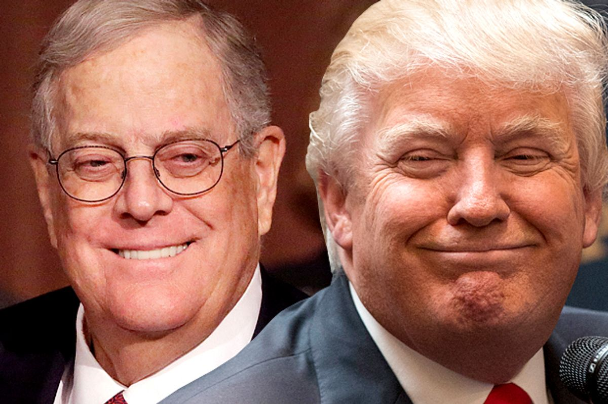 David Koch, Donald Trump                    (AP/Mark Lennihan/Reuters/Brendan Mcdermid/Photo montage by Salon)
