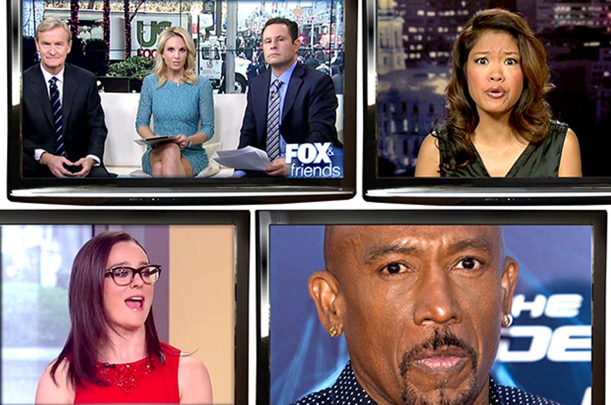 "Clockwise from top left: Cast of ""Fox & Friends,"" Michelle Malkin, Montel Williams, Kennedy.     (Fox News/Reuters/Carlo Allegri/Salon)"