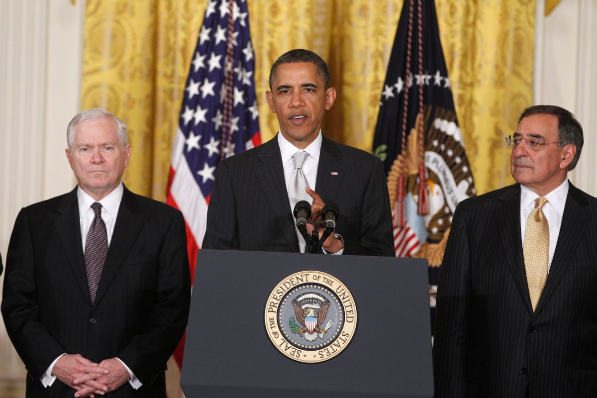 FILE - This April 28, 2011, file photo shows President Barack Obama with then outgoing Defense Secretary Robert Gates, left, and then Defense Secretary-nominee Leon Panetta, in the East Room of the White House in Washington. The friction between President Barack Obama and the Pentagon has been particularly pronounced during his six years in office, and seems to be affecting his ability to find a replacement for Defense Secretary Chuck Hagel. Previous Pentagon chiefs have criticized Obama's efforts to micromanage the Pentagon and centralize decision-making in the White House. (AP Photo/Charles Dharapak, File) (AP)