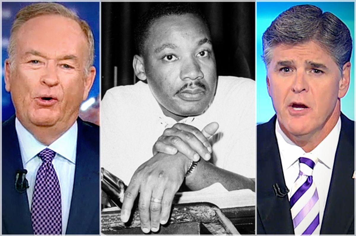 Bill O'Reilly, Martin Luther King, Jr., Sean Hannity            (AP/Horace Cort/Fox News)