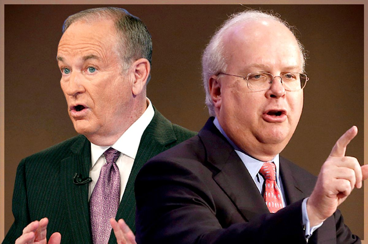 Bill O'Reilly, Karl Rove          (AP/Kathy Willens/Rich Pedroncelli/Photo montage by Salon)