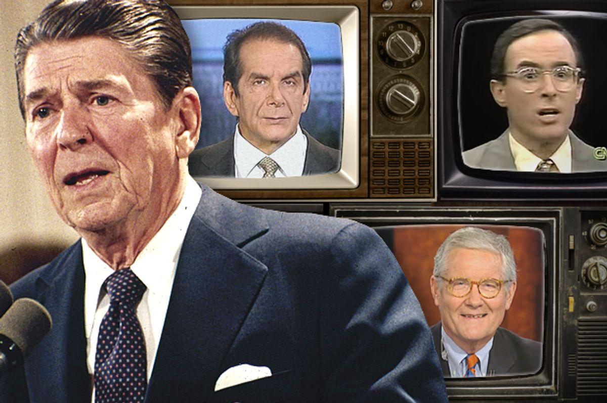 Ronald Reagan; Charles Krauthammer, Michael Kinsley, Fred Barnes                 (AP/Fox News/CNN/ photo montage by Salon)