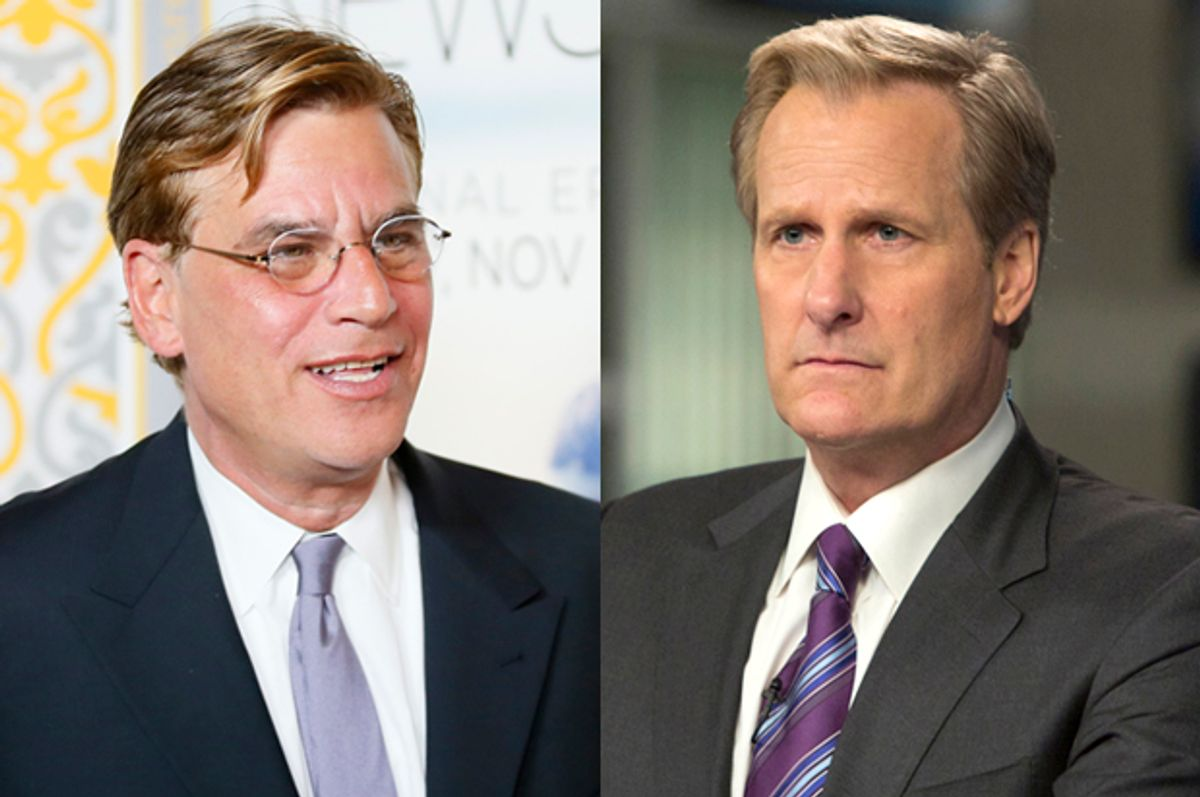 "Aaron Sorkin; Jeff Daniels as WIll McAvoy in ""The Newsroom""        (Reuters/Danny Moloshok/HBO)"