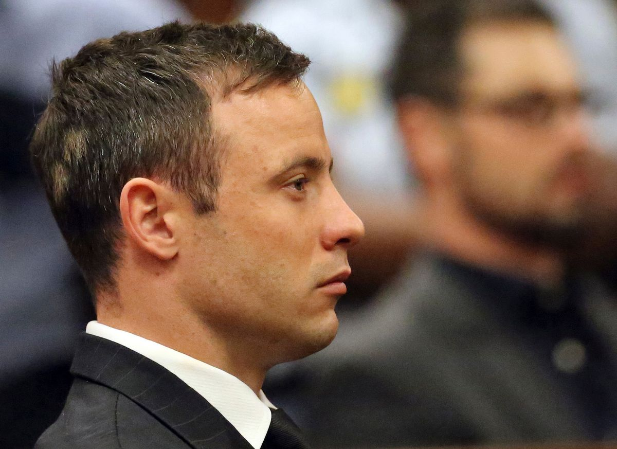 FILE - In this Tuesday, Oct, 2014 file photo, Oscar Pistorius sits in the dock in court in Pretoria South Africa.  Judge Thokozile Masipa ruled Wednesday, Dec 10, 2014 that prosecutors can appeal the culpable homicide conviction of Oscar Pistorius, who was acquitted of murdering girlfriend Reeva Steenkamp. (AP Photo/(AP Photo/Themba Hadebe, Pool, File) (Themba Hadebe)
