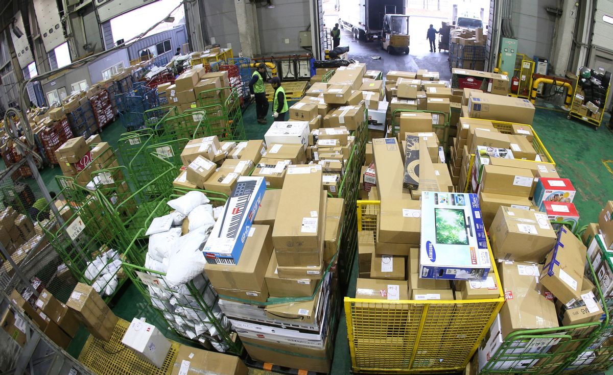 In this Nov.  28, 2014 photo, goods directly purchased from overseas online markets undergo customs inspections at Incheon International Airport Customs in Incheon, South Korea. (Kim Ju-sung)