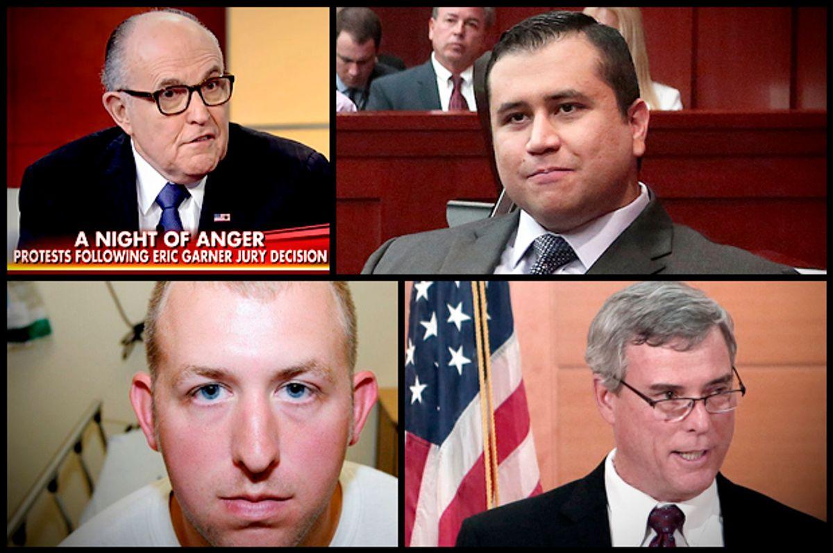 Clockwise from top left: Rudy Giuliani, George Zimmerman, Robert McCullogh, Darren Wilson      (Fox News/AP/Reuters)