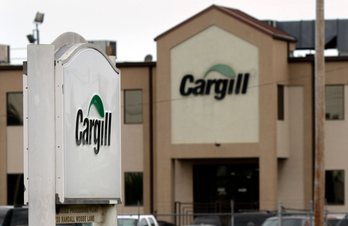 FILE - In this Aug. 4, 2011 file photo, signs are displayed at the Cargill plant in Springdale, Ark. (AP Photo/Danny Johnston, File) (AP)