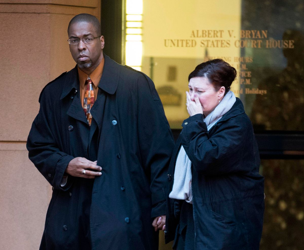 Former CIA officer Jeffrey Sterling leaves the Alexandria Federal Courthouse with his wife, Holly, after being convicted on all nine counts he faced of leaking classified details of an operation to thwart Iran's nuclear ambitions. (AP)